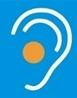 Ohrsymbol mit orangem Punkt im Ohr