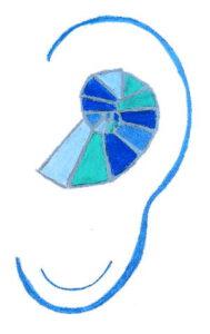 Gemaltes Ohr mit Schnecke in Blau- und Türkistönen